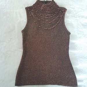 Lillie Rubin Metallic Bronze Beaded Tank